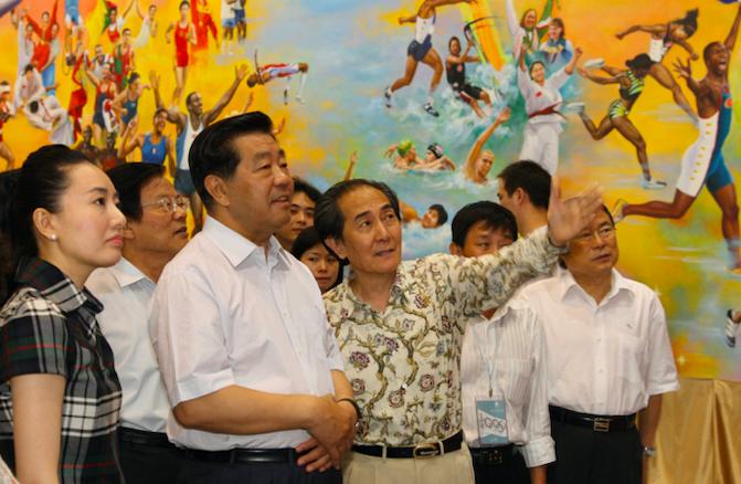 贾庆林13日在北京参观2008奥林匹克美术大会展览