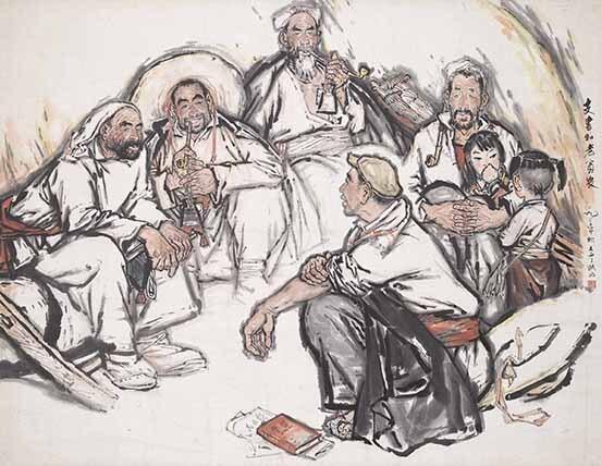 12 刘文西《支书和老贫农》136x175cm 1963年